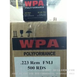 500  Rounds of .223 Ammo by Wolf WPA Polyformance - 62gr FMJ