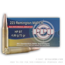 1000 Rounds of .223 Ammo by Prvi Partizan - 75gr HPBT