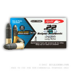 50 Rounds of .22 LR Ammo by Aguila - Sniper Sub Sonic - 60gr LRN