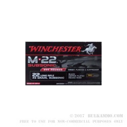 800 Rounds of .22 LR Ammo by Winchester Subsonic - 45 gr Copper Plated Round Nose