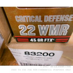 2000 Rounds of .22 WMR Ammo by Hornady - 45 gr FTX