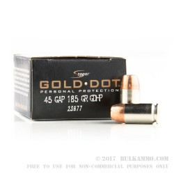20 Rounds of .45 GAP Ammo by Speer - 185gr JHP