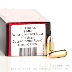 1000 Rounds of 9mm Ammo by BVAC - 124gr CPRN