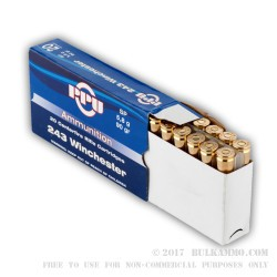 200 Rounds of .243 Win Ammo by Prvi Partizan - 90gr SP