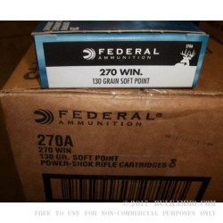 200 Rounds of .270 Win Ammo by Federal - 130gr SP