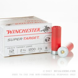 250 Rounds of 12ga Ammo by Winchester Super Target -  #8 shot