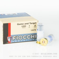 "250 Rounds of 12ga Ammo by Fiocchi Game and Target - 2-3/4"" 1 ounce #8 shot"