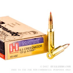 20 Rounds of 6.5 mm Creedmoor Ammo by Hornady - 120gr A-MAX Match