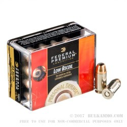20 Rounds of .45 ACP Ammo by Federal - 165gr Hydra-Shok JHP - Low Recoil