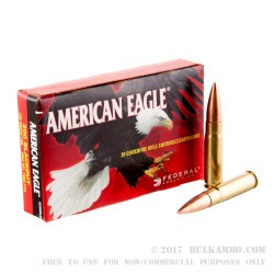 20 Rounds of .300 AAC Blackout Ammo by Federal American Eagle - 150gr FMJ