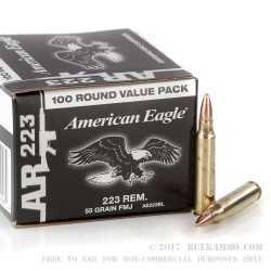 100 Rounds of .223 Ammo by Federal - 55gr FMJ