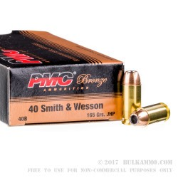 50 Rounds of .40 S&W Ammo by PMC - 165gr JHP