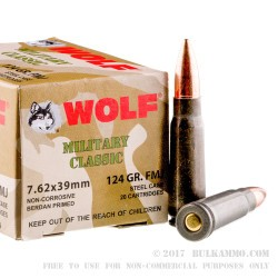 1000 Rounds of 7.62x39mm Ammo by Wolf WPA Military Classic - 124gr FMJ