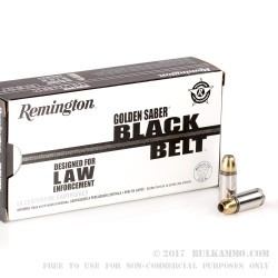500  Rounds of 9mm Ammo by Remington Golden Saber Black Belt - 124gr JHP