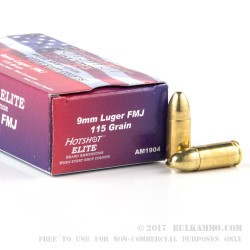 1000 Rounds of 9mm Ammo by Hotshot - 115gr FMJ