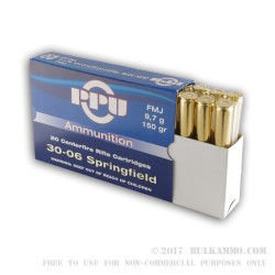 20 Rounds of 30-06 Springfield Ammo by Prvi Partizan - 150gr FMJ