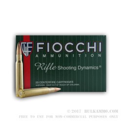20 Rounds of 30-06 Springfield Ammo by Fiocchi - 150gr SPBT