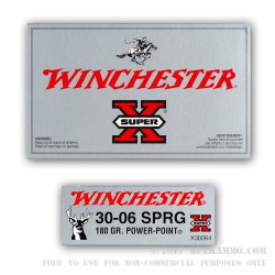 200 Rounds of 30-06 Springfield Ammo by Winchester - 180gr PP