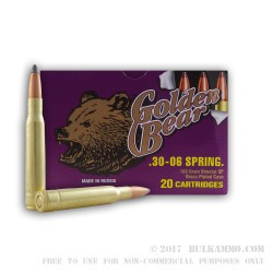 500  Rounds of 30-06 Springfield Ammo by Golden Bear - 168gr SP
