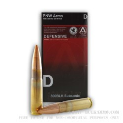 20 Rounds of .300 AAC Blackout Ammo by PNW Arms - 220gr HPBT