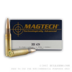 1000 Rounds of .308 Win Ammo by Magtech - 150gr FMJBT