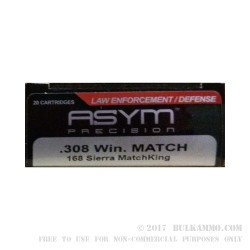 20 Rounds of .308 Win Ammo by ASYM Precision Sierra MatchKing - 168gr HPBT