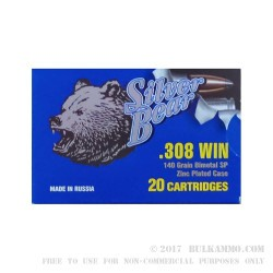 20 Rounds of .308 Win Ammo by Silver Bear - 140gr SP