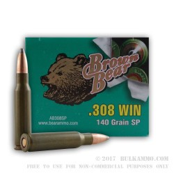 20 Rounds of .308 Win Ammo by Brown Bear - 140gr SP