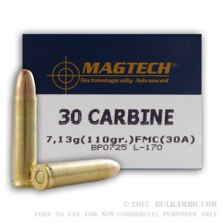 50 Rounds of .30 Carbine Ammo by Magtech - 110gr FMJ