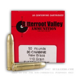 50 Rounds of .30 Carbine Ammo by BVAC - 110gr FMJ