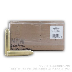 250 Rounds of .30 Carbine Ammo by BVAC - New - 110gr FMJ