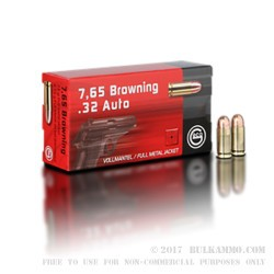 50 Rounds of .32 ACP Ammo by GECO - 73gr FMJ