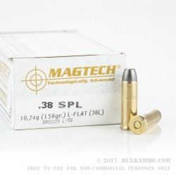 50 Rounds of .38 Spl Ammo by Magtech - 158gr LFN