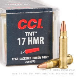 50 Rounds of .17HMR Ammo by CCI - 17gr HP