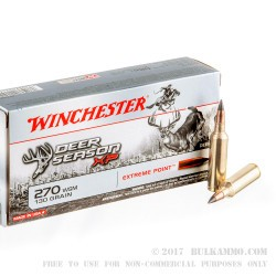 20 Rounds of 270 Win Short Mag Ammo by Winchester Deer Season XP - 130gr Polymer Tipped