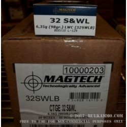 50 Rounds of .32S&W Long Ammo by Magtech - 98gr Lead Wadcutter