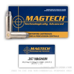 50 Rounds of .357 Mag Ammo by Magtech - 158gr LSWC