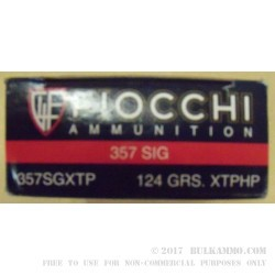 357 Sig 124 gr JHP XTP Fiocchi Ammo For Sale!