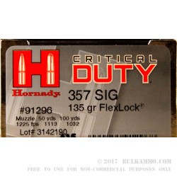 20 Rounds of .357 SIG Ammo by Hornady Critical Duty - 135gr JHP