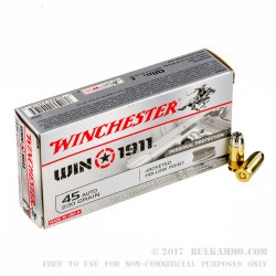 50 Rounds of .45 ACP Ammo by Winchester Win1911 - 230gr JHP