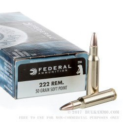 20 Rounds of .222 Rem Ammo by Federal - 50gr SP