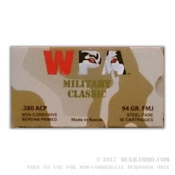 50 Rounds of .380 ACP Ammo by Wolf - 94gr FMJ