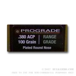 50 Rounds of .380 ACP Ammo by ProGrade Ammunition - 100gr CPRN