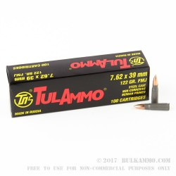 1000 Rounds of 7.62x39mm Ammo by Tula - 122gr FMJ