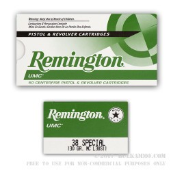 500 Rounds of .38 Spl Ammo by Remington - 130gr MC