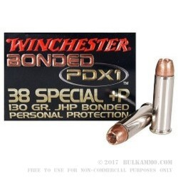 20 Rounds of .38 Spl Ammo by Winchester - 130gr JHP