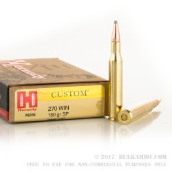 20 Rounds of .270 Win Ammo by Hornady Custom - 150gr SP