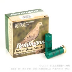 25 Rounds of 12ga Ammo by Remington Heavy Dove Load - 1 1/8 ounce #7 1/2 shot