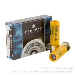 5 Rounds of 20ga Ammo by Federal - 3/4 ounce Rifled Slug