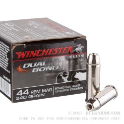 20 Rounds of .44 Mag Ammo by Winchester Bonded Dual Jacket - 240gr HP